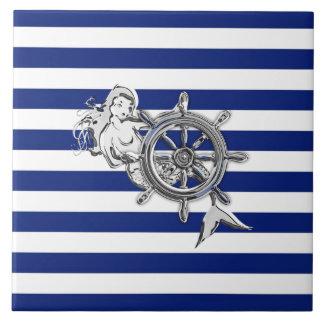Chrome Like Mermaid on Nautical Stripes Tile