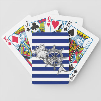 Chrome Like Mermaid on Navy Stripes Bicycle Playing Cards