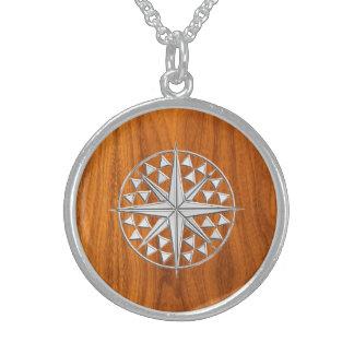 Chrome Like Nautical Compass Star on Teak Veneer Sterling Silver Necklace