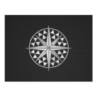 Chrome Like Nautical Star Compass on Carbon Fiber Postcard