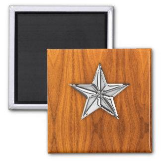 Chrome Like Nautical Star on Teak Veneer 2 Inch Square Magnet