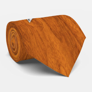 Chrome like Nautical Star on Teak Veneer style Neck Tie