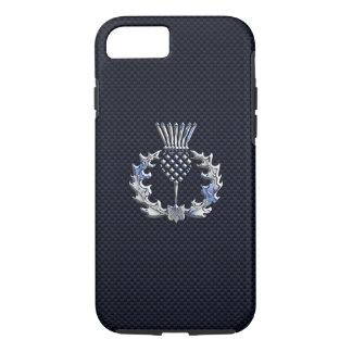 Chrome like on Carbon Fiber Print Scottish Thistle iPhone 7 Case