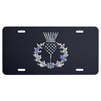 Chrome like on Carbon Fiber Print Scottish Thistle License Plate