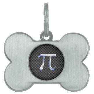 Chrome Like Pi Symbol in Carbon Fiber Style Pet ID Tag