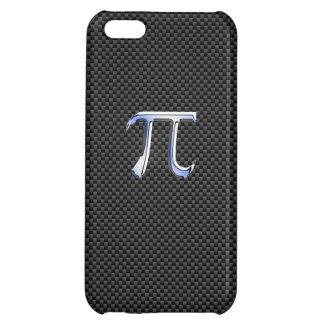 Chrome Like Pi Symbol on Black Carbon Fiber Print iPhone 5C Covers