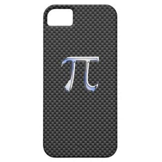 Chrome Like Pi Symbol on Black Carbon Fiber Print iPhone SE/5/5s Case