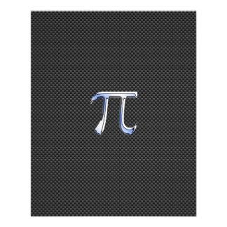 Chrome Like Pi Symbol on Carbon Fiber Print Flyer