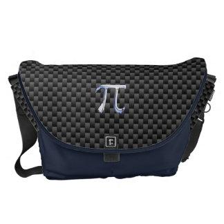 Chrome Like Pi Symbol on Carbon Fiber Print Courier Bags