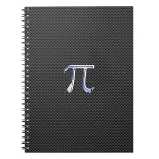 Chrome Like Pi Symbol on Carbon Fiber Print Notebook