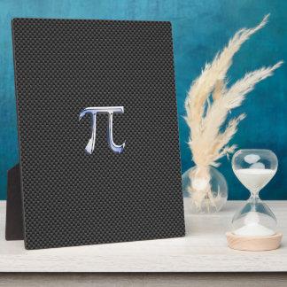 Chrome Like Pi Symbol on Carbon Fiber Print Plaque