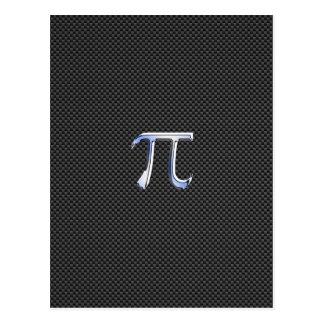 Chrome Like Pi Symbol on Carbon Fiber Print Postcard
