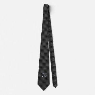 Chrome Like Pi Symbol on Carbon Fiber Print Tie