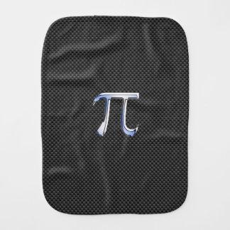 Chrome Like Pi Symbol on Carbon Fiber Style Baby Burp Cloth