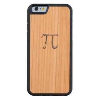 Chrome Like Pi Symbol on Carbon Fiber Style Carved Cherry iPhone 6 Bumper Case
