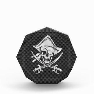 Chrome Like Pirate on Black Carbon Fiber Acrylic Award