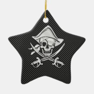 Chrome Like Pirate on Black Carbon Fiber Ceramic Ornament