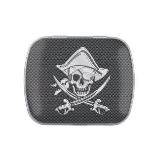 Chrome Like Pirate on Black Carbon Fiber Jelly Belly Candy Tin
