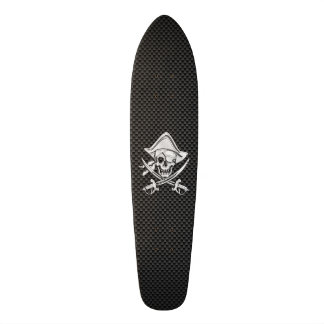 Chrome Like Pirate on Black Carbon Fiber Skateboard