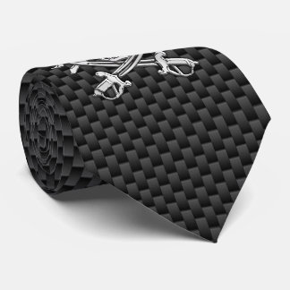 Chrome like Pirate on Carbon Fiber style print Tie