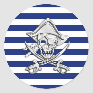 Chrome Like Pirate on Nautical Stripes Classic Round Sticker