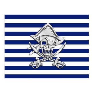 Chrome Like Pirate on Nautical Stripes Postcard