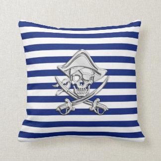 Chrome Like Pirate on Nautical Stripes Throw Pillow