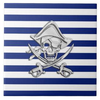 Chrome Like Pirate on Navy Stripes Ceramic Tile