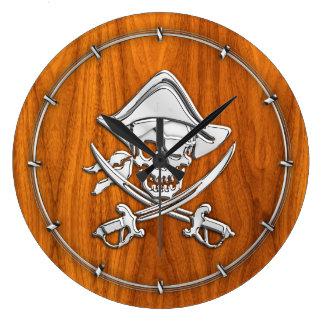 Chrome Like Pirate on Teak Veneer Large Clock