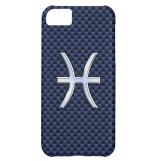 Chrome Like Pisces Sign on Blue Carbon Fiber Print iPhone 5C Cover