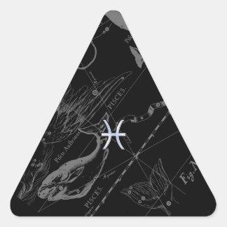 Chrome like Pisces Zodiac Sign on Black Hevelius Triangle Sticker