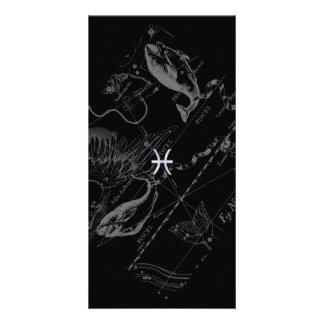 Chrome like Pisces Zodiac Sign on Hevelius 1690 Card