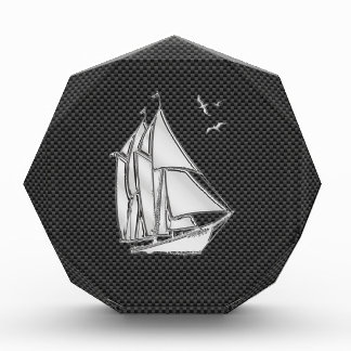 Chrome Like Regatta Sailboat on Carbon Fiber decor Acrylic Award
