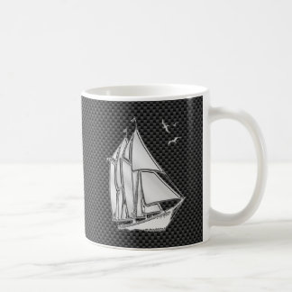 Chrome Like Regatta Sailboat on Carbon Fiber decor Coffee Mug