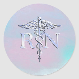 Chrome Like RN Caduceus in Mother Pearl Style Classic Round Sticker