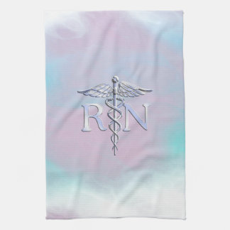 Chrome Like RN Caduceus in Mother Pearl Style Hand Towel