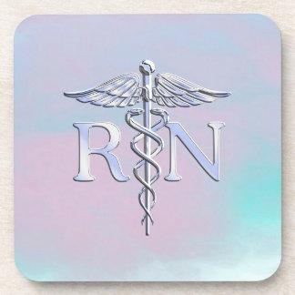 Chrome Like RN Caduceus Medical Mother Pearl Coaster
