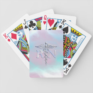 Chrome Like RN Caduceus Medical Mother Pearl Bicycle Playing Cards
