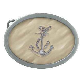 Chrome Like Rope Anchor in the Sand Oval Belt Buckle