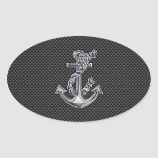 Chrome Like Rope Anchor on Carbon Fiber Oval Sticker