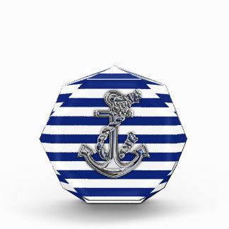 Chrome Like Rope Anchor on Nautical Stripes Award