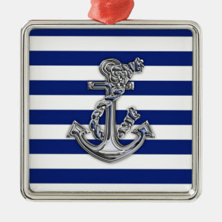 Chrome Like Rope Anchor on Nautical Stripes Metal Ornament