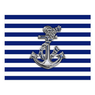 Chrome Like Rope Anchor on Nautical Stripes Postcard