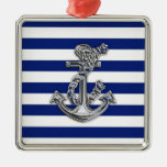 Chrome Like Rope Anchor on Nautical Stripes Square Metal Christmas Ornament