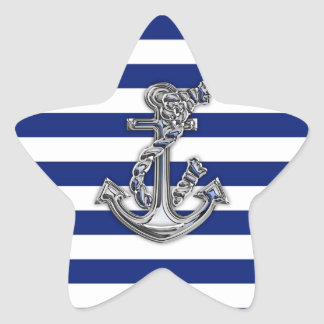 Chrome Like Rope Anchor on Nautical Stripes Star Sticker