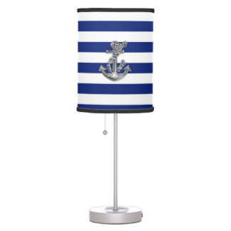 Chrome Like Rope Anchor on Navy Stripes Table Lamp