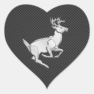 Chrome Like Running Deer on Carbon Fiber Print Heart Sticker