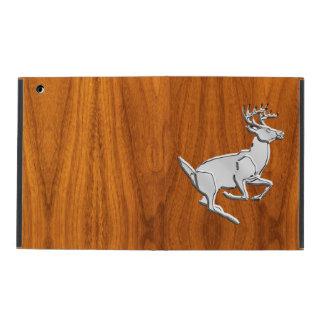 Chrome Like Running Deer on Fine Teak Print iPad Cases