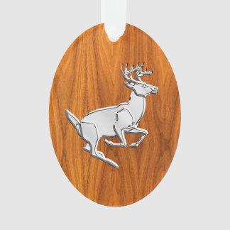 Chrome Like Running Deer on Fine Teak Print Ornament