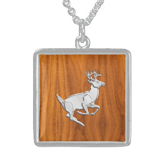 Chrome Like Running Deer on Fine Teak Print Sterling Silver Necklace
